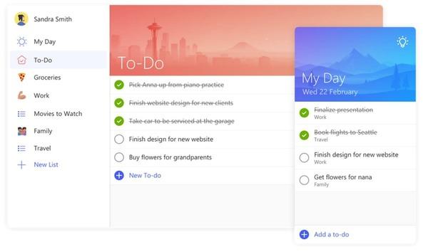 Microsoft To – Do phần mềm sắp xếp công việc giúp cung cấp thông tin về những việc chưa làm xong